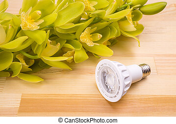 LED beside orchid