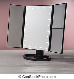 LED black vanity make up mirror on white wooden table and pink background