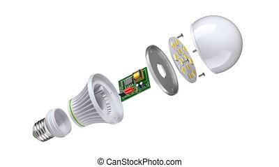 LED bulb assembly animation with exploded view on white background