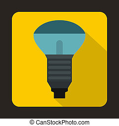 LED bulb icon in flat style