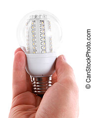 Led bulb in man's hand on white background