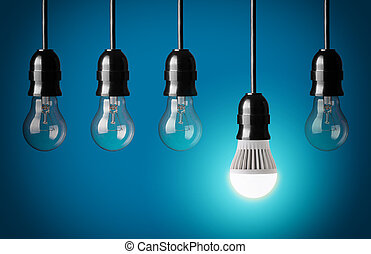 LED bulb - Glowing LED bulb and simple light bulbs