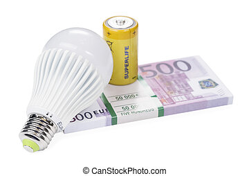 Led bulb with battery on pack money