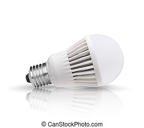Led bulb with reflection on the ground