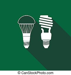 LED bulbs and fluorescent light bulb icon with long shadow.