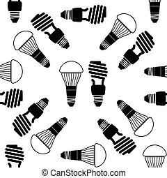 LED bulbs and fluorescent light bulb icon seamless pattern on white background. Vector Illustration