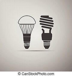 LED bulbs and fluorescent light bulb icon.