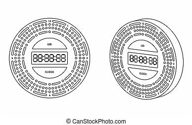 Led clock colored. Outline only