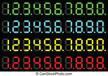 LED digits - Illustration of a set of numbers of different...