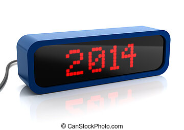 Led display of 2014 year, isolated on white