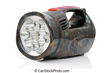 LED electric torch - An electric torch with a LED on a white...
