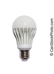 LED energy safing bulb. A60 E27. Isolated object