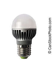 LED energy safing bulb. G45 E27. Isolated object