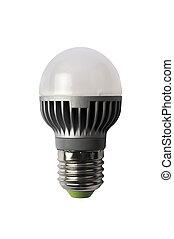 LED energy safing bulb. G45 E27. Isolated object