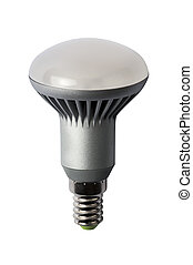 LED energy safing bulb. R50 E27. Isolated object