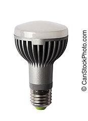 LED energy safing bulb. R63 E27. Isolated object