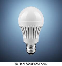 LED energy saving bulb isolated on a blue background