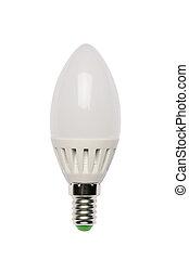 LED energy saving bulb. Light-emitting diode. Isolated ...