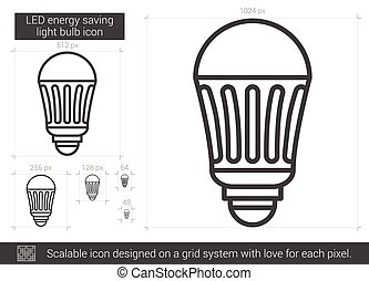 LED energy saving light bulb line icon. - LED energy saving...