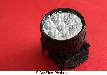 led flashlight lit close up