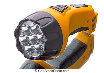 LED Flashlight on a white