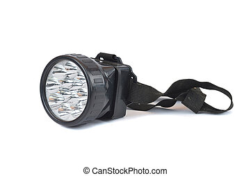 led head lamp on white background