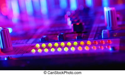 LED Indicator Level Signal of Volume on the Sound Mixing Console or Dj Console on the Party in Nightclub.