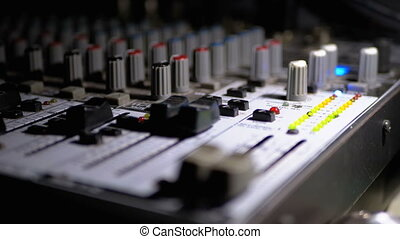 LED Indicator Level Signal on the Sound Mixing Console. Fade...
