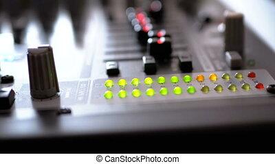 LED Indicator Level Signal on the Sound Mixing Console. Led...