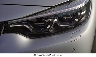 Led lamp of grey car