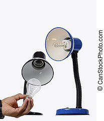 LED lamps replace the old lamps. - Led lamp illuminated with...