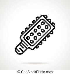 LED light bulb black line vector icon