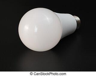 LED light bulb on a black background