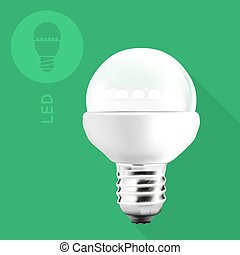 LED Light Bulb On Flat Background