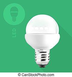 LED Light Bulb On Flat Background