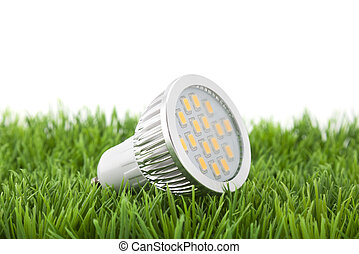 Led light bulb on green grass