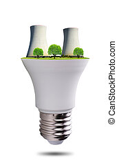 LED light bulb with nuclear power plant isolated on white ...