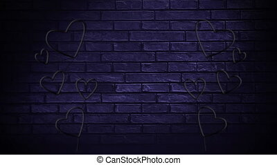 Led light hearts on a brick wall - Digital animation of led ...