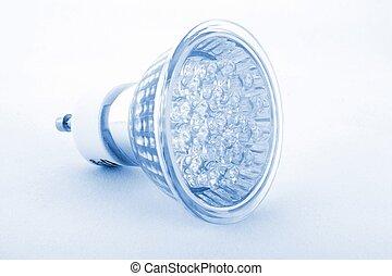 Led Light isolated on white background- blue tone