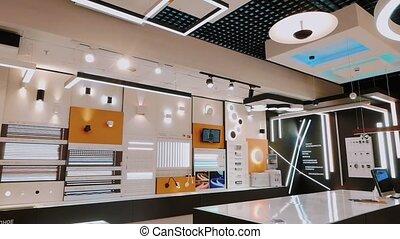Shop showcase of modern led lamps