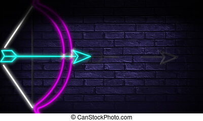 Led light signage of arrow drawing and shooting