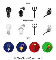 LED light, street lamp, match. Light source set collection icons in black, flat, monochrome style bitmap symbol stock illustration web.