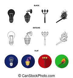 LED light, street lamp, match. Light source set collection icons in black, flat, outline style bitmap symbol stock illustration web.