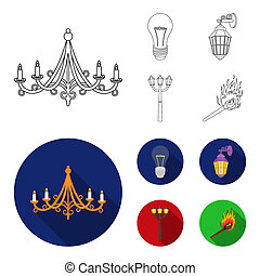 LED light, street lamp, match. Light source set collection icons in outline, flat style bitmap symbol stock illustration web.