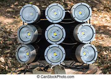 LED lighting set on the brick base