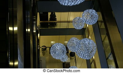 Led lights and designs glow in the shopping centre