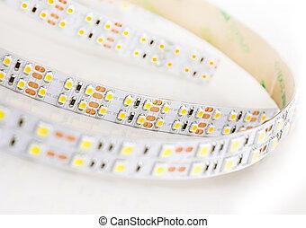 Led lights strip on white background. - Diode lights...