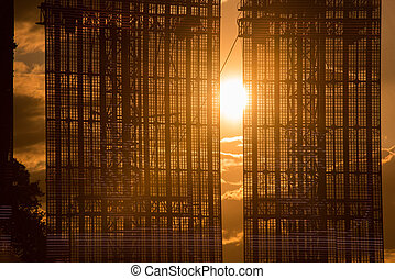 Led screen display in the sunset