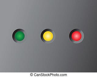 Led status light on black (Green, yellow, red)