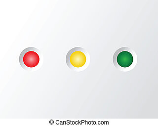 Led status light on white (Green, yellow, red)